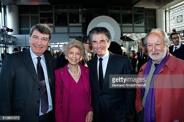 French Academician Xavier Darcos, Permanent Secretary of 'Academie Francaise' Helene Carrere d'Encausse, President of the 'Institut du Monde Arabe'...