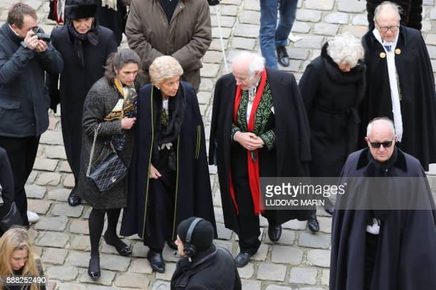 French Academicians Helene Carrere d'Encausse and Pierre Rosenberg attend the National Tribute ceremony for late member of the Academie Francaise...