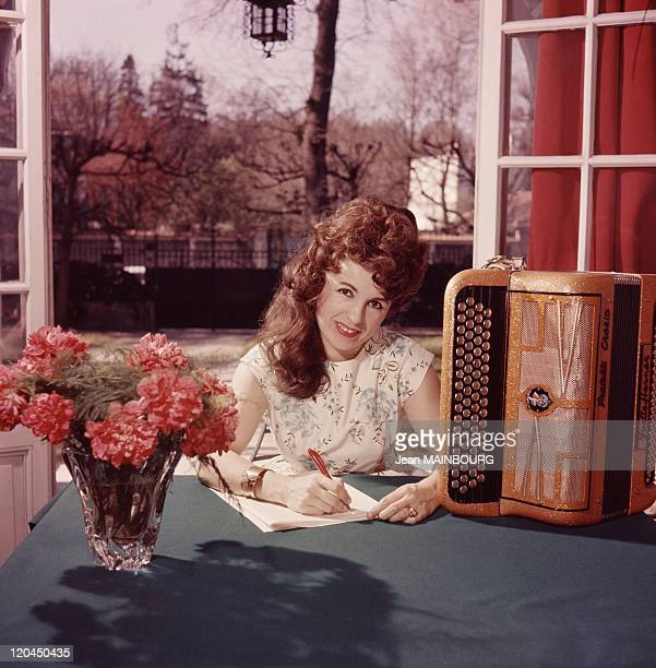 French accordeonist Yvette Horner in France in the 1960s
