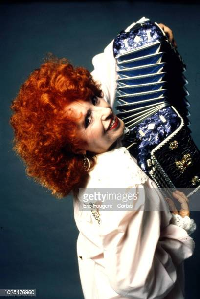 French accordionist pianist and composer Yvette Horner poses during a portrait session in Paris France on