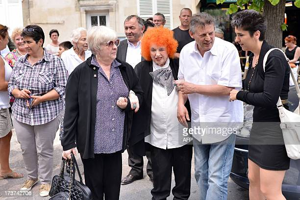 French accordionist Yvette Horner arrives to attend the funeral ceremony of French accordion player legend Andre Verchuren in Chantilly north of...