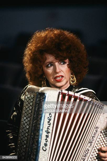 French accordionist Yvette Horner at home