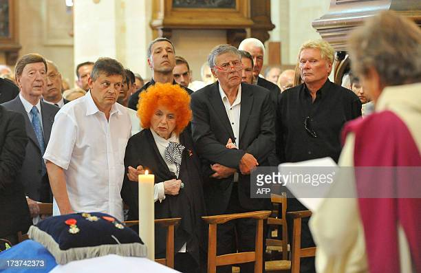 French accordionist Yvette Horner attend the funerals ceremony of French accordion player legend Andre Verchuren in Chantilly north of Paris on July...