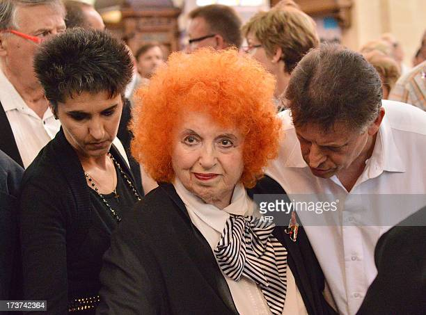 French accordionist Yvette Horner attends the funerals ceremony of French accordion player legend Andre Verchuren in Chantilly north of Paris on July...