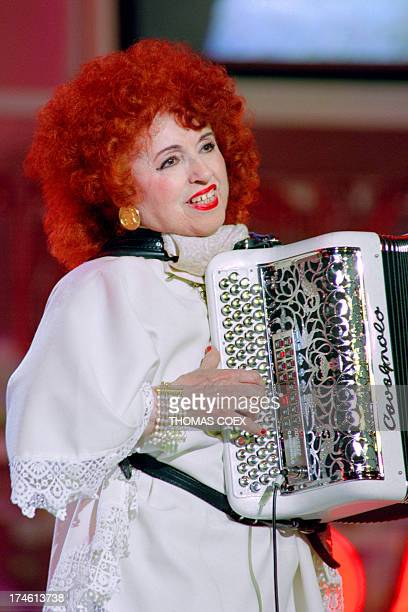 French accordionist Yvette Horner performs at the Olympia concert hall in Paris on April 14 on the eve of his last ever show AFP PHOTO