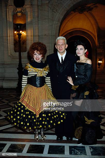 French accordionist Yvette Horner with fashion designer JeanPaul Gaultier and actress Beatrice Dalle at the 1987 Fashion Oscars Awards in Paris