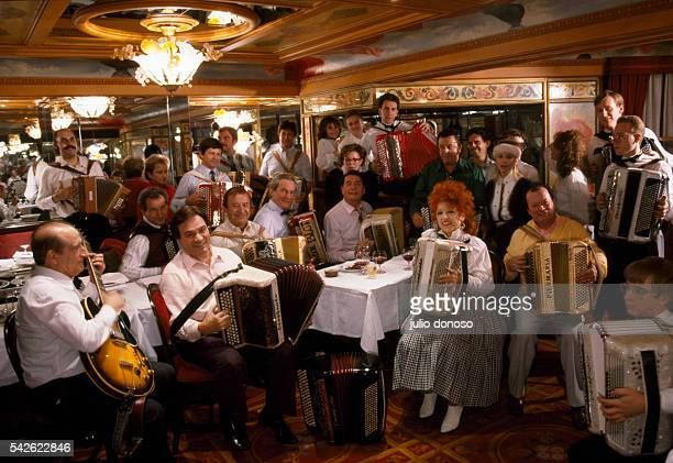 French accordionists gather to celebrate their craft Pictured in the front row left to right are Marcel Azzola Yvette Horner and Emile Decotty Second...