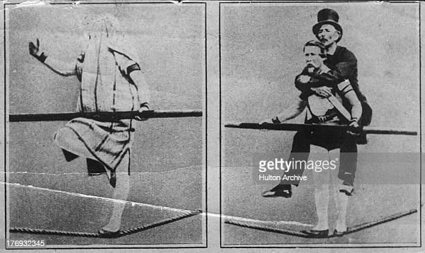 French acrobat and tightropewalker Charles Blondin real name Jean Francois Gravelet on two of many crossings of the Niagara River circa 1860 In the...