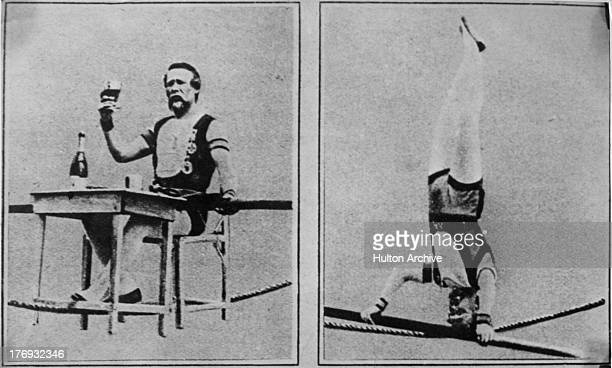 French acrobat and tightrope-walker Charles Blondin , real name Jean Francois Gravelet, on two of many crossings of the Niagara River, circa 1860. In...