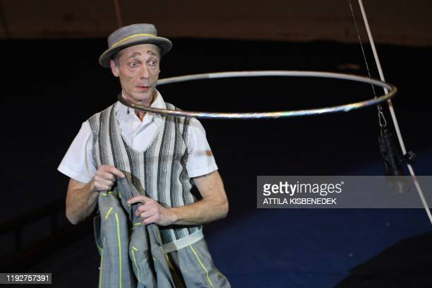 French acrobat Julot Cousins performs during the 13th International Circus Festival in the Capital Circus of Budapest Hungary on January 9 2020