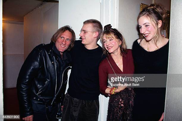 """French acting family Gérard, Guillaume, Elisabeth and Julie Depardieu attend a performance of the play """"Les eaux et forets"""" starring Elisabeth..."""