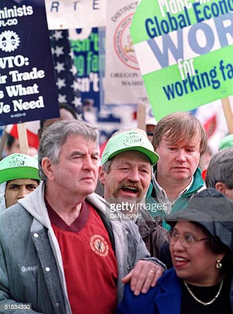 French activist farmer Jose Bove walks through downtown Seattle with other labor union leaders 30 November 1999 on the first day of ministerial...