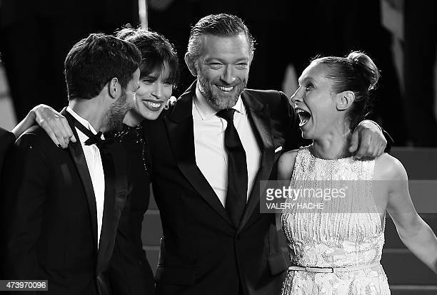 French actor Abdel Addala, French actress and director Maiwenn, French actor Vincent Cassel and French actress Emmanuelle Bercot pose as they arrive...