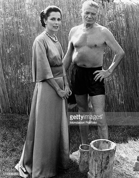 French actor Alain Cuny and French actress Juliette Mayniel having a break on the set of I prosseneti Rome 10th October 1975