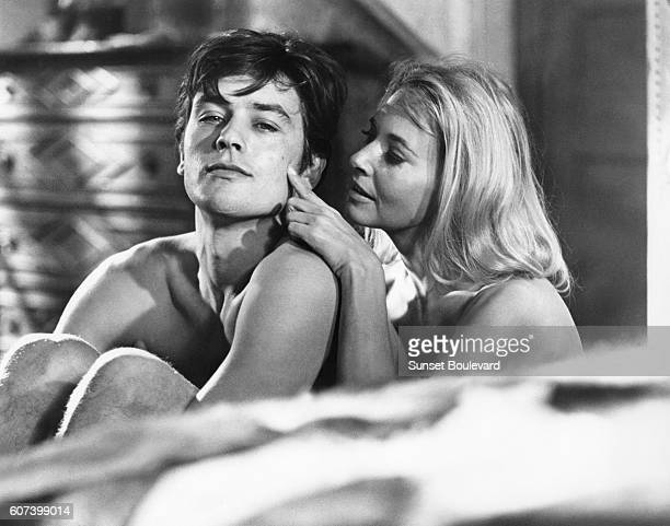 French actor Alain Delon and American actress Lola Albright on the set of Les Felins written and directed by Rene Clement