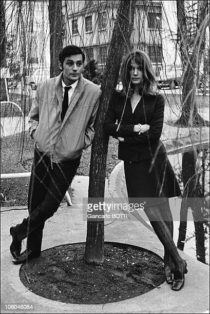 French actor Alain Delon and female counterpart Olga Georges Picot on the set of the movie Farewell Friend directed by Jean Herman in 1968 in France
