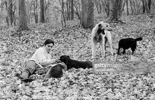 French Actor Alain Delon And His Dogs In France Circa 1970