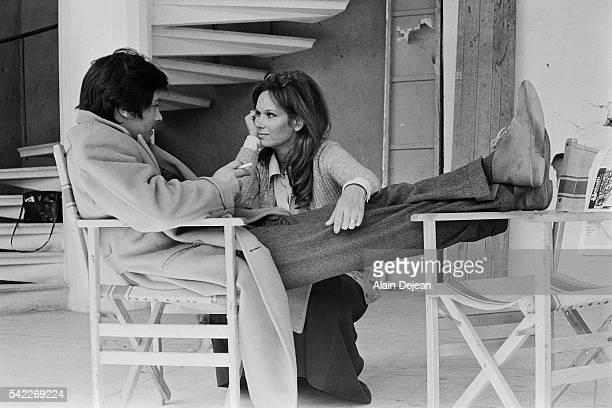 French actor Alain Delon and Italian actress Lea Massari on the set of La prima notte di quiete, written and directed by Valerio Zurlini.