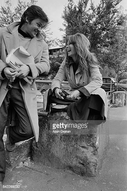 French actor Alain Delon and Italian actress Lea Massari on the set of La prima notte di quiete written and directed by Valerio Zurlini