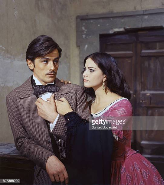 French actor Alain Delon and Itlalian actress Claudia Cardinale on the set of Il Gattopardo directed by Luchino Visconti