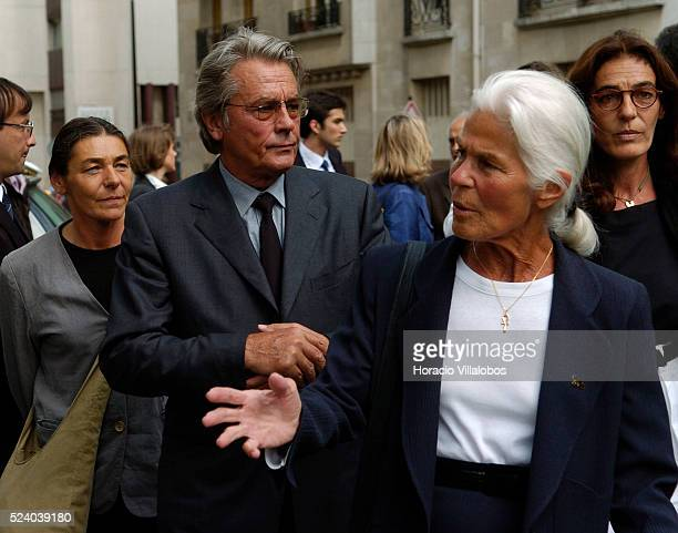 French actor Alain Delon and Micheline ChabanDelmas third wife of Jacques Chaban Delmas arrive at the ceremony to honor the memory of French general...