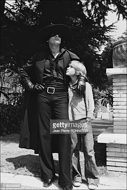 French actor Alain Delon and son Anthony on the set of Zorro directed by Duccio Tessari in 1975 in France