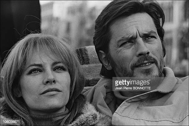 French Actor Alain Delon and wife Nathalie in January 1968 in Venice Italy