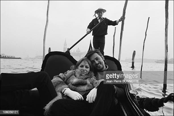 French Actor Alain Delon and wife Nathalie in Venice Italy on January 1968