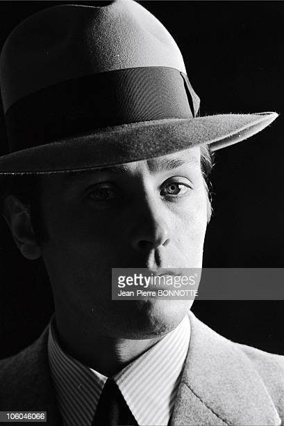 French actor Alain Delon on the set of gangster movie Borsalino directed by Jacques Deray in in 1970 in Paris France