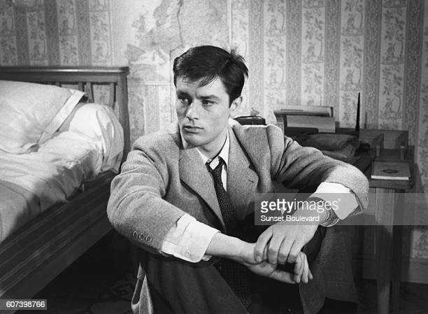French actor Alain Delon on the set of Le Chemin des Ecoliers directed by Michel Boisrond