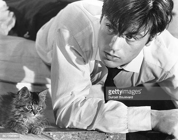French actor Alain Delon on the set of Les Felins written and directed by Rene Clement