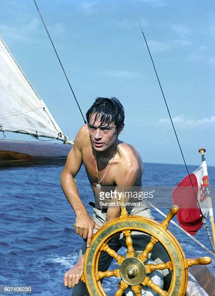 French actor Alain Delon on the set of Plein Soleil written and directed by René Clément
