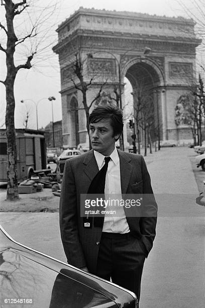 French actor Alain Delon on the set of Un Flic written and directed by JeanPierre Melville
