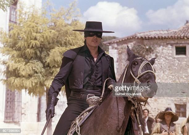 French actor Alain Delon on the set of Zorro directed by Italian Duccio Tessari