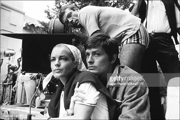 French actor Alain Delon with Austrian born actress Romy Schneider on the set of the movie The Swimmiong Pool directed by Jacques Deray in August...
