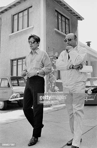 French actor Alain Delon with director JeanPierre Melville on the set of his crime thriller film 'The Samourai' in France in July 1967