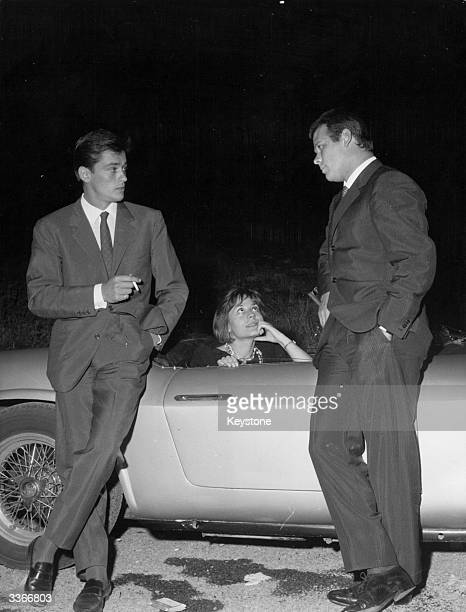 French actor Alain Delon with French actress Annie Girardot and Italian actor Renato Salvatori in Rome circa 1960 The three costar in the 1960 film...