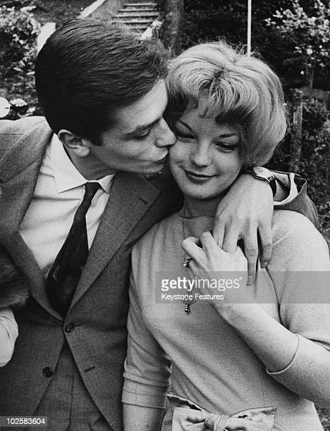 French actor Alain Delon with his fiancee, German actress Romy Schneider at Lake Lugano, Italy, 25th March 1959. The couple have just announced their...