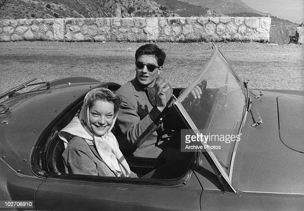 French actor Alain Delon with his partner, actress Romy Schneider , circa 1960.