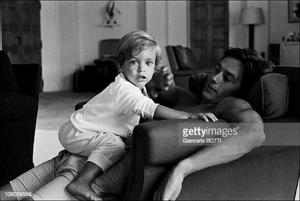 French actor Alain Delon with his son Anthony at home in 1966 in France