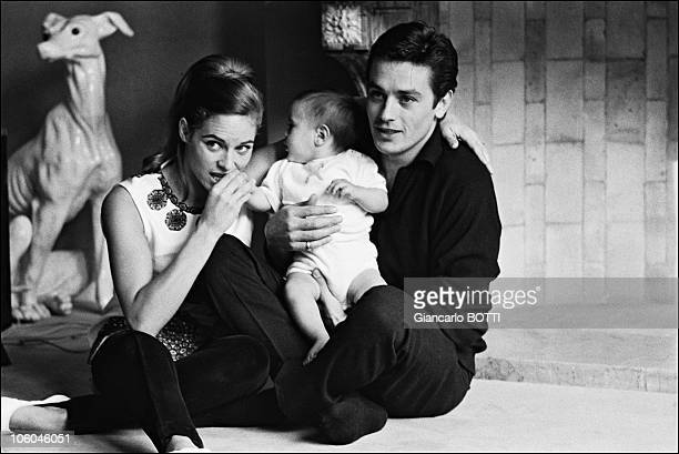 French actor Alain Delon with his wife Nathalie and son Anthony at home in 1966 in France