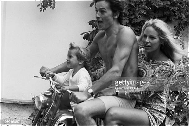 French actor Alain Delon with his wife Nathalie and son Anthony at home in France in 1966
