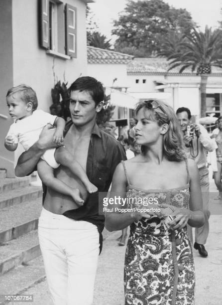 French actor Alain Delon with his wife Nathalie and their son Anthony in Monte Carlo, 15th August 1965.