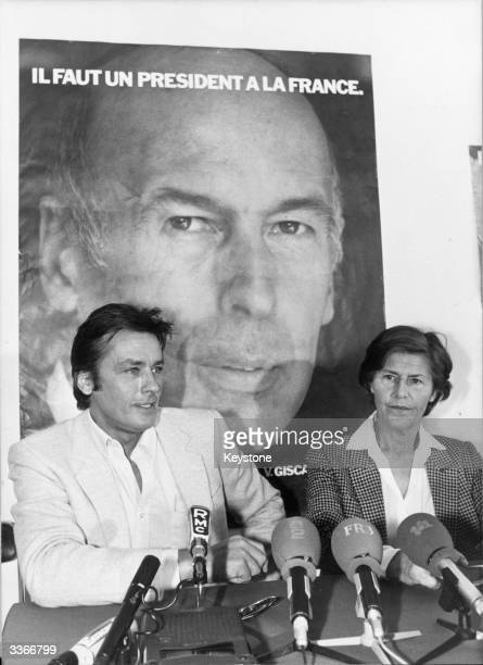 French actor Alain Delon with Madame Onique Pelletier giving his support for the Presidential campaign of Valery Giscard d'Estaing