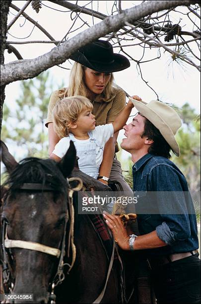French actor Alain Delon with wife Nathalie and son Anthony in 1966 in France.