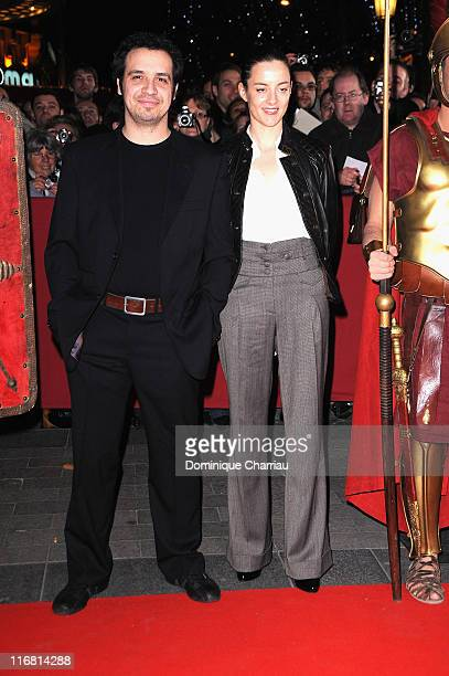 French Actor Alexandre Astier and his wife attends Asterix At The Olympic Games Paris Premiere at the Gaumont Marignan Champs Elysees on January 13...