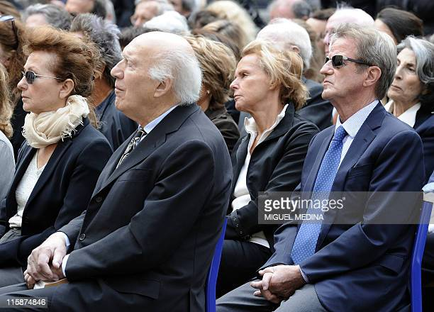 French actor and director Michel Piccoli his wife Ludivine Clerc journalist Christine Ockrent and his companion former Foreign Minister Bernard...