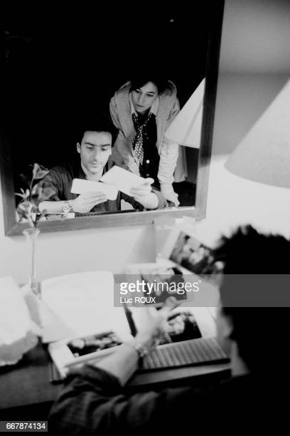 French actor and director Yvan Attal and his wife actress and singer Charlotte Gainsbourg on the set of his film Ma Femme est une Actrice