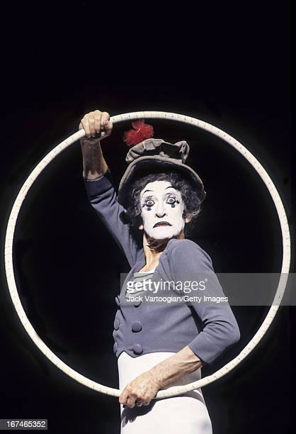 French actor and mime Marcel Marceau performs on stage at Hunter College's Kaye Playhouse, New York, New York, April 25, 1995.
