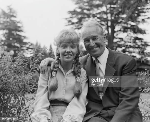 French actor and singer Maurice Chevalier with actress Hayley Mills his costar in the Walt Disney adventure film 'In Search of the Castaways' at...